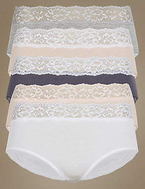5 Pack Lace High Waisted Midi Knickers, PINK MIX, catlanding