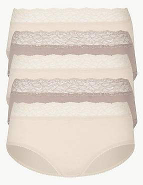 5 Pack Lace High Waisted Midi Knickers, ALMOND MIX, catlanding