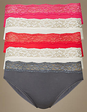 5 Pack Lace Waisted High Leg Knickers