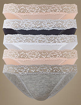 5 Pack Cotton Rich Lace Waisted Bikini Knickers