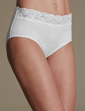 5 Pack Cotton Rich Lace Waist Midi Knickers with New & Improved Fabric