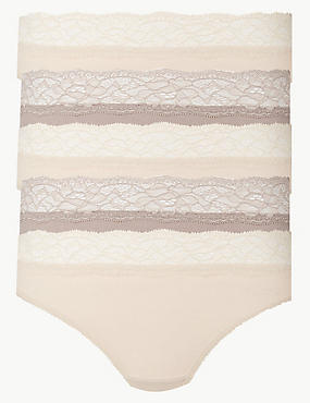 5 Pack Lace Waisted Thongs, ALMOND MIX, catlanding