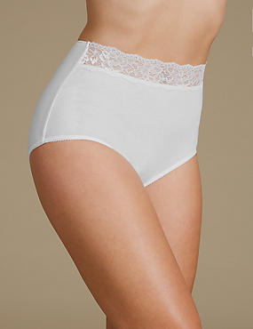 5 Pack Pure Cotton Lace Waisted Full Brief Knickers