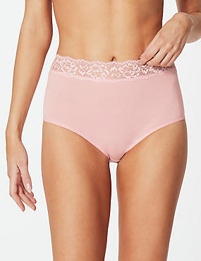 5 Pack Cotton Rich Full Brief Knickers, PINK MIX, catlanding
