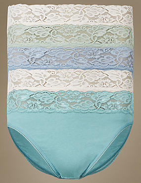 5 Pack Cotton Rich Lace Waist High Leg Knickers with New & Improved Fabric