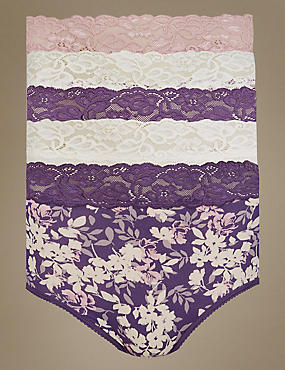 5 Pack Lace Waist High Rise Full Briefs