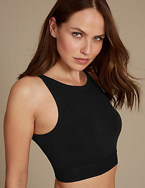 Cotton Rich High Neck Crop Top