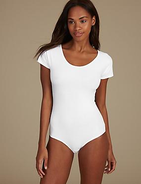 Cotton Rich Short Sleeve Body, WHITE, catlanding