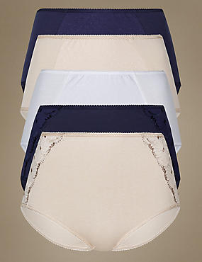 5 Pack Cotton Rich Floral Embroidery Full Briefs, INDIGO MIX, catlanding
