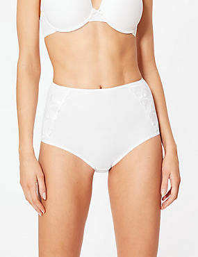 5 Pack Cotton Rich Full Brief Knickers, WHITE, catlanding