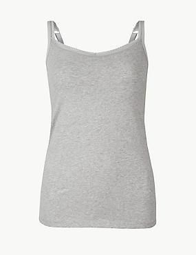 Cotton Rich Lace Trim Vest with Shelf Support, GREY MIX, catlanding