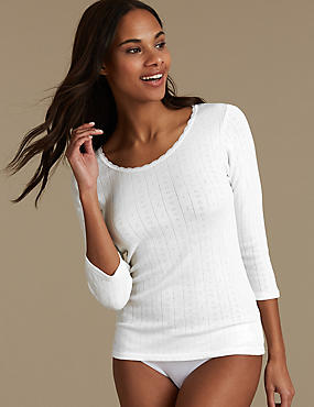 2 Pack Thermal Scoop Neck Tops, WHITE, catlanding