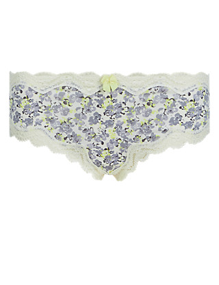 Printed Lace Trim Low Rise Brazilian Knickers Clothing