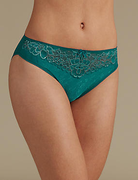 Jacquard & Lace Trim High Leg Knickers