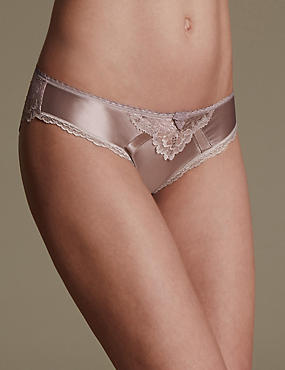 Sheen & Lace Low Rise Brazilian Knickers