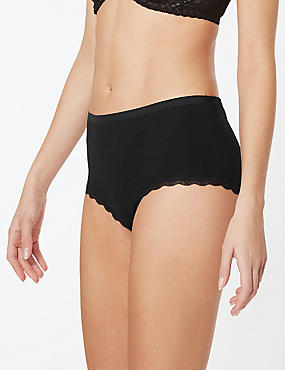 3 Pack Cotton Rich Midi Knickers, BLACK MIX, catlanding