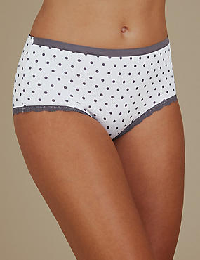 3 Pack Cotton Rich Midi Knickers, WHITE MIX, catlanding