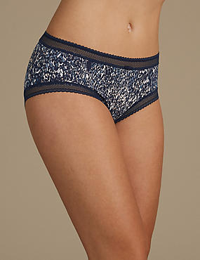Lace Trim Print Midi Knickers