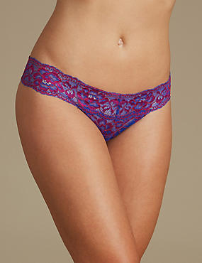 Floral Lace Thong, PINK MIX, catlanding