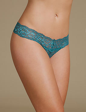 Floral Lace Thong, GREEN, catlanding