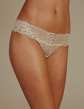 Floral Lace Thong, ALMOND MIX, catlanding