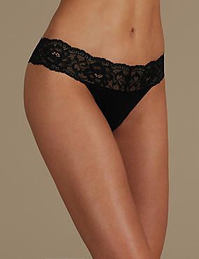 Louisa Lace Cotton Blend Thong