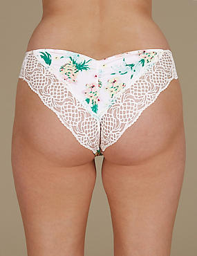 Pineapple Print Lace Brazilian Knickers