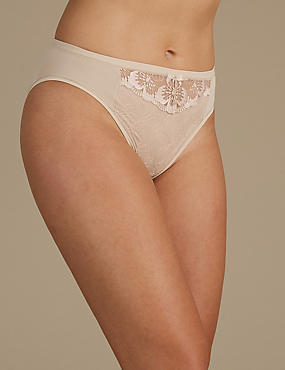 Floral Lace Embroidered High Leg Knickers, , catlanding