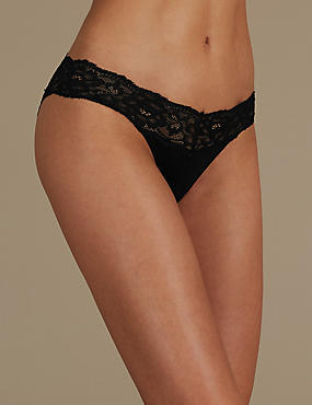 Lace Cotton Blend Bikini Knickers