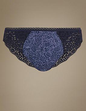 Cotton Rich Vintage Lace High Leg Knickers, NAVY MIX, catlanding