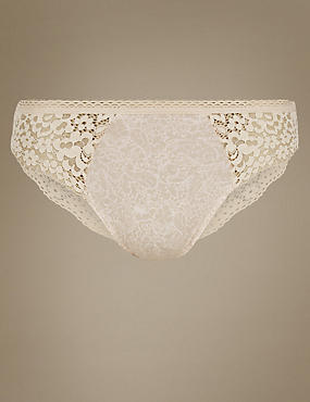 Cotton Rich Vintage Lace High Leg Knickers