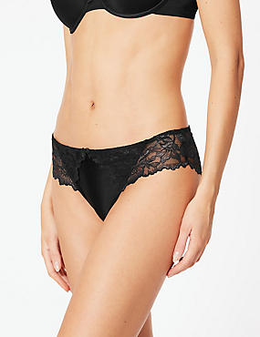 Sheen & Lace Brazilian Knickers, BLACK, catlanding