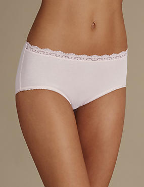 2 Pack Cotton Rich Lace Trim Midi Knickers