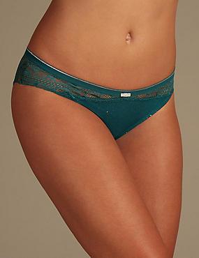 Lace Brazilian Knickers   , TEAL, catlanding