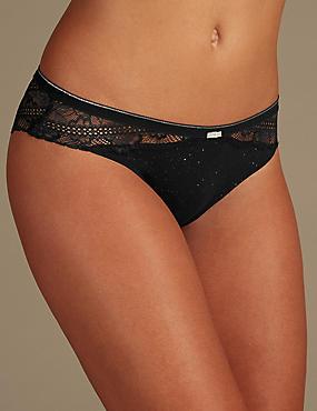 Lace Brazilian Knickers   , BLACK, catlanding