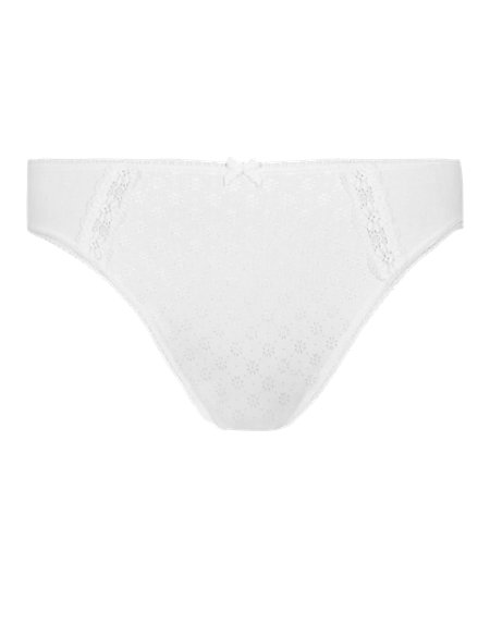 Cotton Rich Lace High Leg Knickers