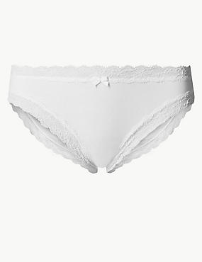 Cotton Rich Lace Trim Bikini Knickers, WHITE, catlanding