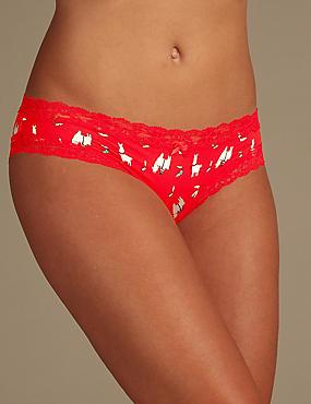 Floral Print Bikini Knickers, BRIGHT RED, catlanding