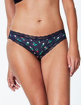 Floral Print Bikini Knickers, NAVY MIX, catlanding
