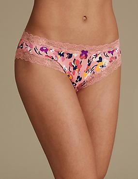 Floral Print Bikini Knickers, , catlanding