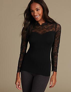 Heatgen™ Thermal Long Sleeve Top , BLACK, catlanding