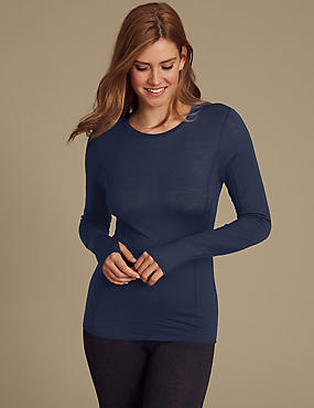 Merino Wool Blend Thermal Long Sleeve Top