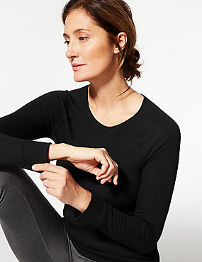Long Sleeve Thermal Top, BLACK, catlanding