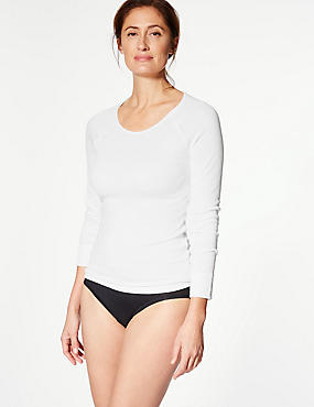 Long Sleeve Thermal Top, WHITE, catlanding