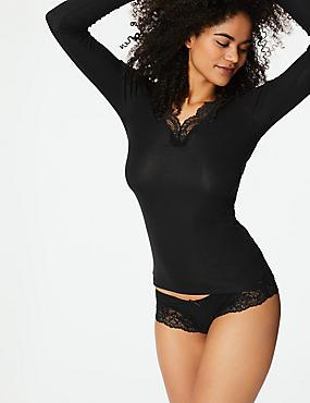 Thermal Long Sleeve Top with Silk , BLACK, catlanding
