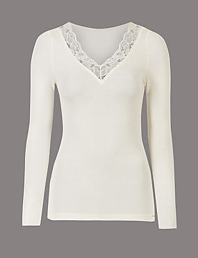 Modal Rich Thermal Long Sleeve Top with Silk, LIGHT CREAM, catlanding