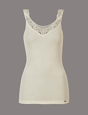 Lace Trim Modal & Silk Blend Thermal Vest, LIGHT CREAM, catlanding