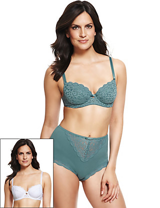 2 Pack Supima® Padded Ornate Lace B-DD Bras Clothing