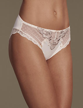 Ophelia Embroidered High Leg Knickers with Cool Comfort™ Technology