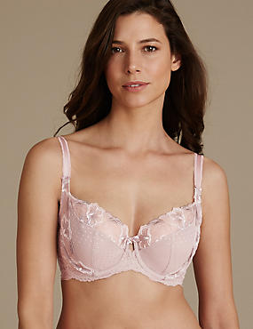Embroidered Non Padded Balcony Bra DD-GG